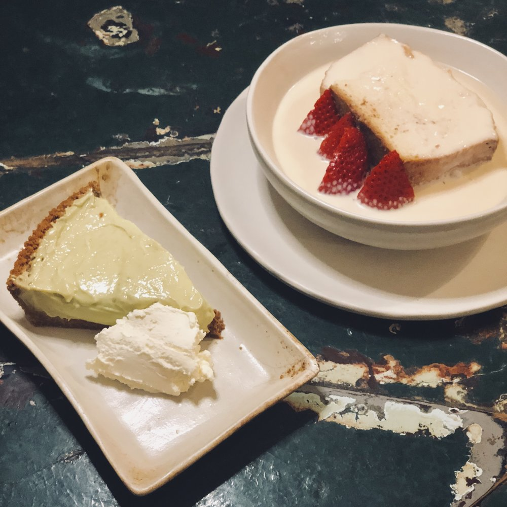Retro looking desserts- the subtle Avocado Pie and the loud Eton Mess.