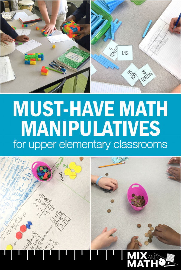 This list of math manipulatives are a must for all upper elementary classrooms. 3rd, 4th, and 5th grade students can use these for hands-on learning for place value, fractions, volume, measurement, decimals, and more! #3rdgrade #4thgrade #5thgrade #math #manipulatives