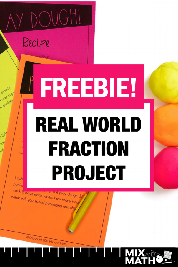 FREEBIE! Grab this free real world fraction project for 4th and 5th grade students. The 4th grade project covers 4.NF.1, 4.NF.2, 4.NF.3, 4.NF.4, 4.NF.5, 4.NF.6 and 4.NF.7. The 5th grade project covers standards 5.NF.1, 5.NF.2, 5.NF.3, 5.NF.4, 5.NF.5, 5.NF.6 and 5.NF.7. There is a recipe to make your own play dough in class! #4thgrade #5thgrade #math #fractions