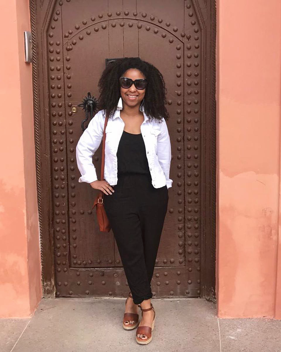 Me in Marrakech in November 2018 wearing my go-to black jumpsuit over a white denim jacket