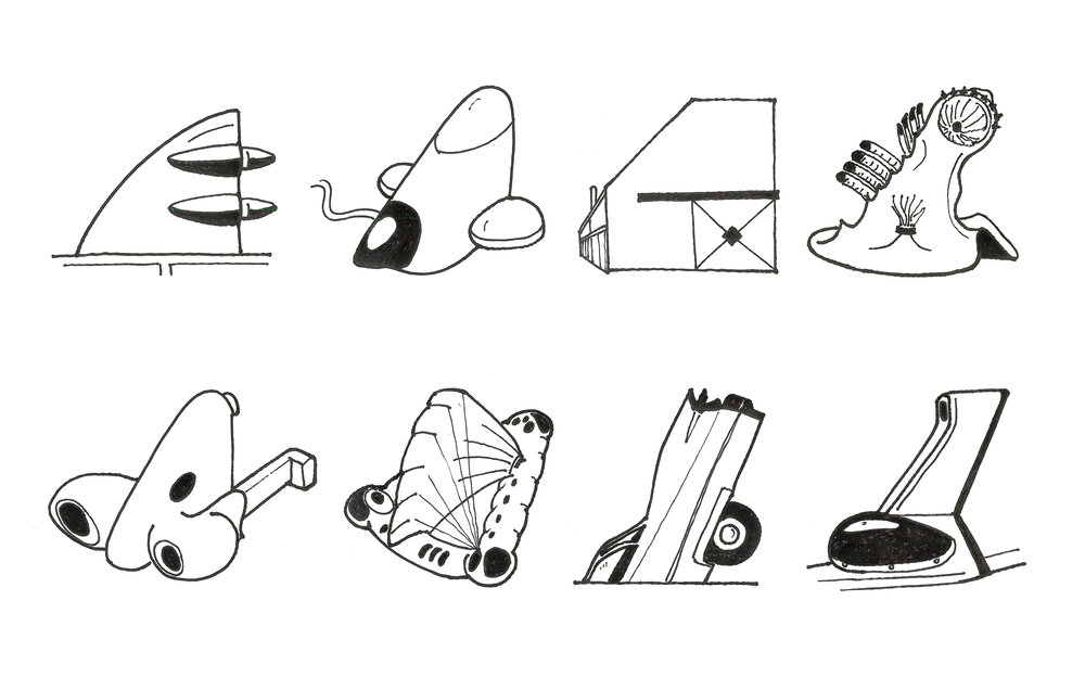 Fig. 2 An evolution of Ant Farm's fin motif as interpreted by the author. Depicted (from top left to bottom right) are the  World's Largest Snake  truck (detail of  Inflatocookbook , 1971),  ICE-9  (1971), the  Antioch Art Building  (1972),  Freedomland  (detail, 1973), the  House of the Century  (1971-73), the  Dolphin Embassy  (1973-76),  Cadillac Ranch  (detail, 1974), and the Phantom Dream Car (detail of  Media Burn , 1975). Tyler Survant. 2013, pen on paper, 8.5x11in.