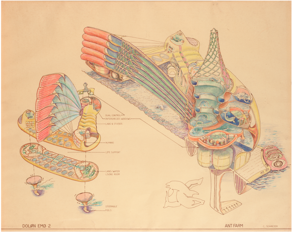 Fig. 3. Ant Farm, DOLON EMB 2 (Drawing by Curtis Schreier). 1975, hand colored brownline, 18x22 in. Berkeley Art Museum & Pacific Film Archive, 2005.14.65
