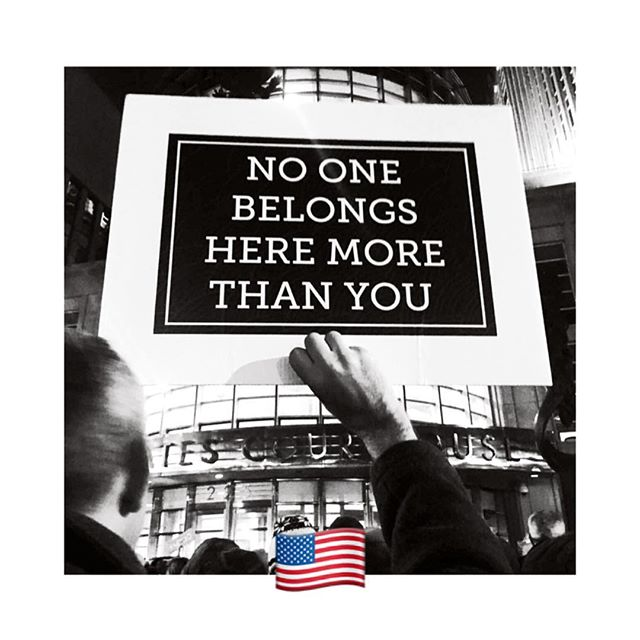 ✨I made this sign for my wedding, years ago, and unexpectedly it's been taken to many protests since then (here it's being held my my husband @joshclark at a rally in front of the Brooklyn Courthouse). ✨ ✨ ✨Today is Independence Day here in the U.S., and for me that means renewing my commitment to keep fighting for the rights of ALL marginalized humans, especially those who are being dehumanized and terrorized by our own government. ✨ ✨ ✨ I do not have answers about the most effective ways to #resist, but, as I often say to my husband and daughter, I know the answer is NOT to do nothing. So I keep protesting, donating, signing, voting, posting, and calling... and I encourage you to do the same. ✨ ✨ ✨ Our country IS great in many ways, but it was built on stolen land by slave labor, and it's our work now to turn this country towards compassion, kindness, respect, humanity, and love—to see clearly where we came from (even the horrific parts), and to FIGHT for a future that offers a place for ALL. ✨ ✨ ✨ Happy Fourth of July, friends! No one belongs here more than you. ❤️ ✨ ✨ ✨ xo, Liza ✨ ✨ ✨ ps Heartbroken? Angry? Not sure how to get your mind in the zone? Try adding a loving-kindness meditation to your practice. ✨