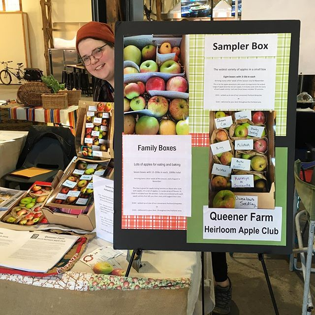 In Portland at the CSA Share Fair til 3pm. At the Redd. #findyourfarmer #queenerfarm #heirloomapples #slowfood #csa