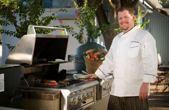 Chef Charles Youts on the grill