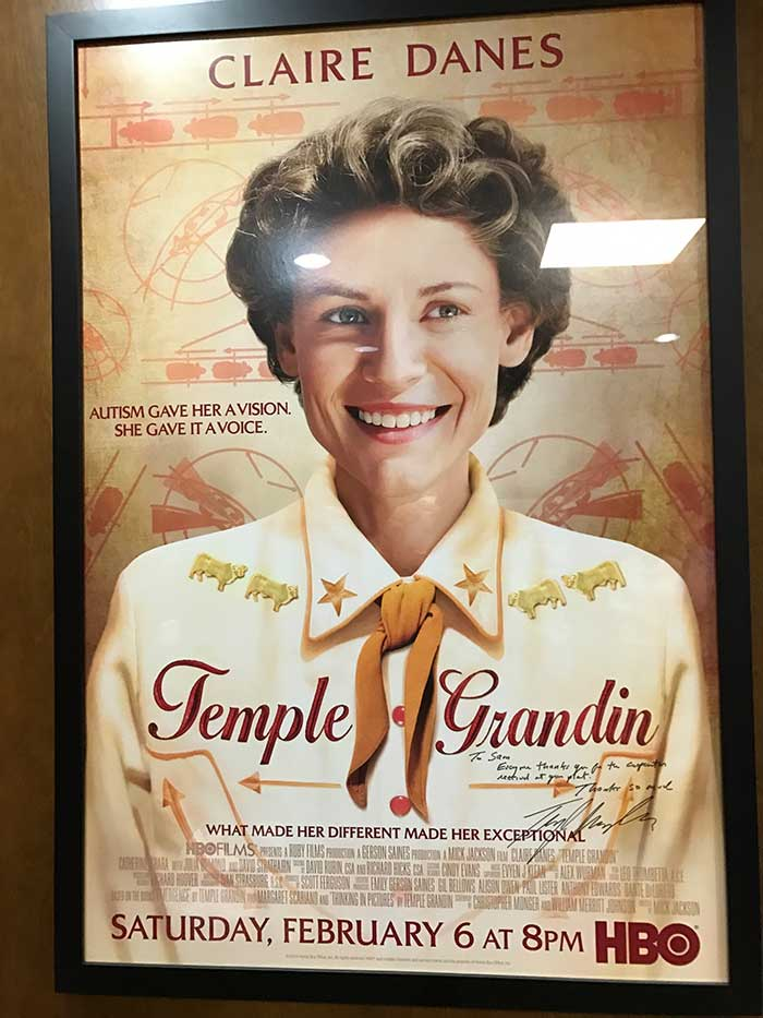 The Kane plant has an autographed  Temple Grandin movie  poster in the office.