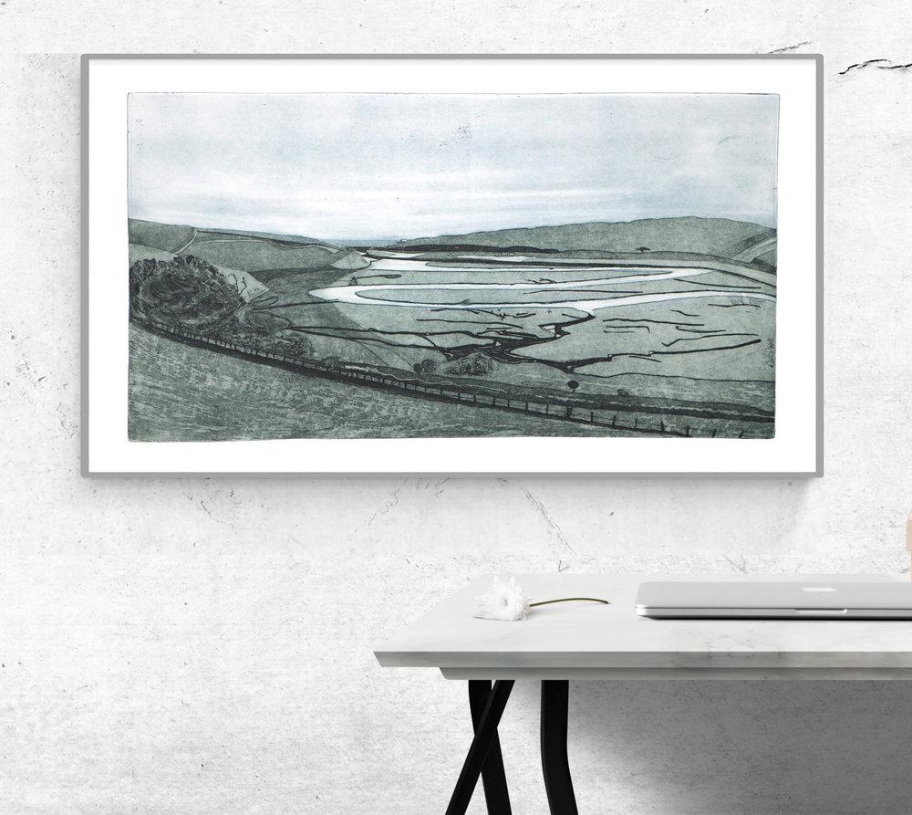 'Cuckmere Valley' Fine Art Etching by Heike
