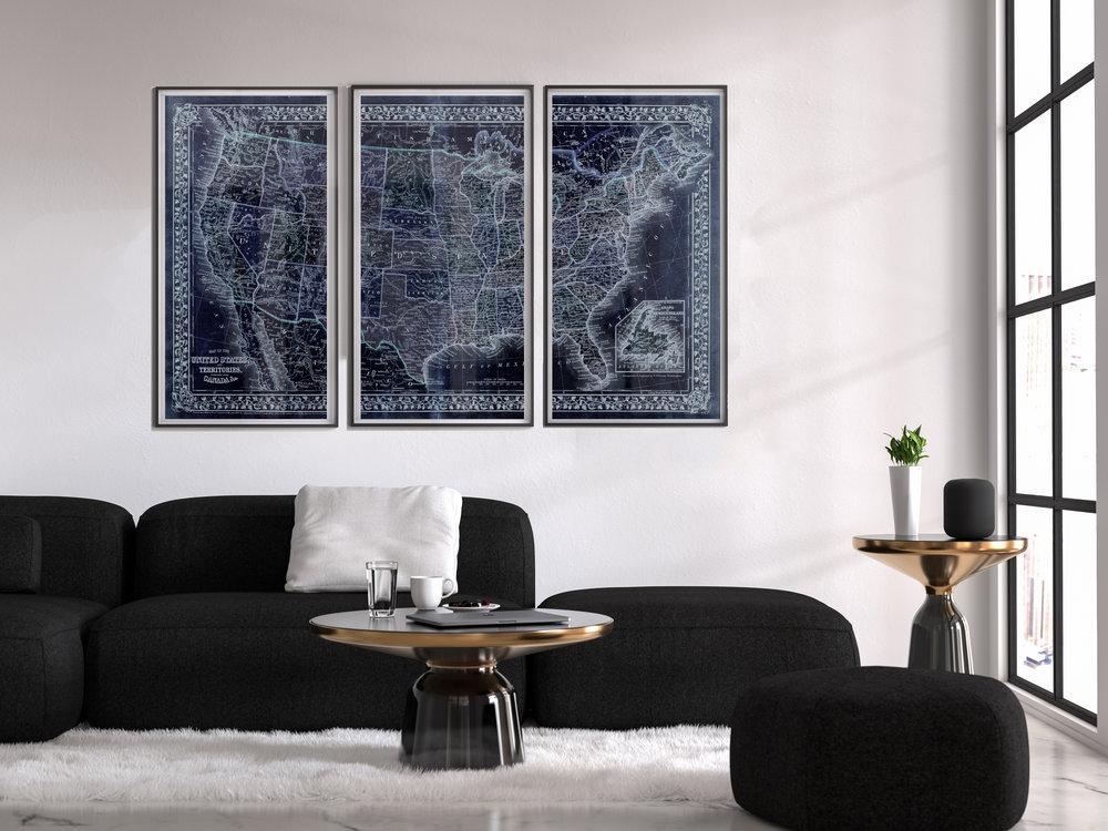 Art Basket Original set of 3 old America blue map prints