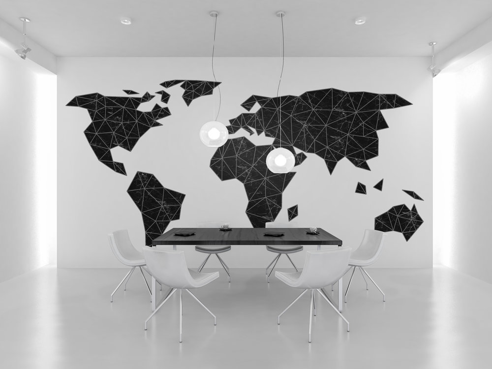 Art Basket Originals black marble map poster