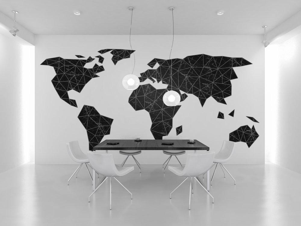 Art Basket Originals black marble map poster