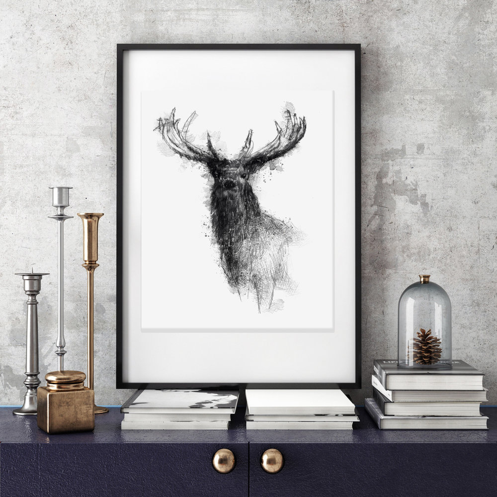 Limited edition red stag giclée print by Sean Briggs