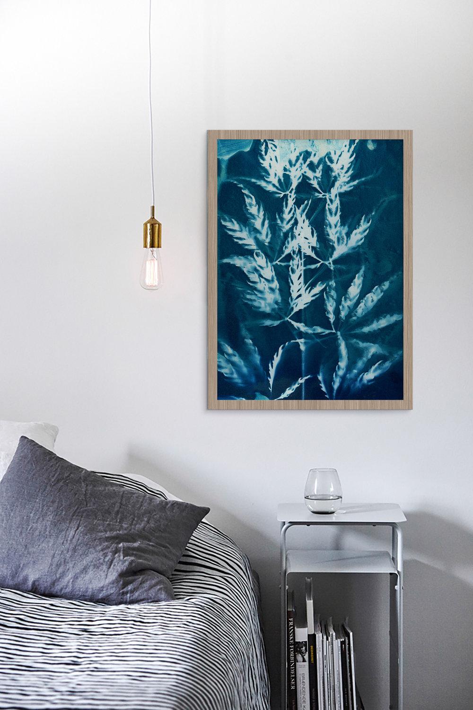 'Blue Feathers' cyanotype print