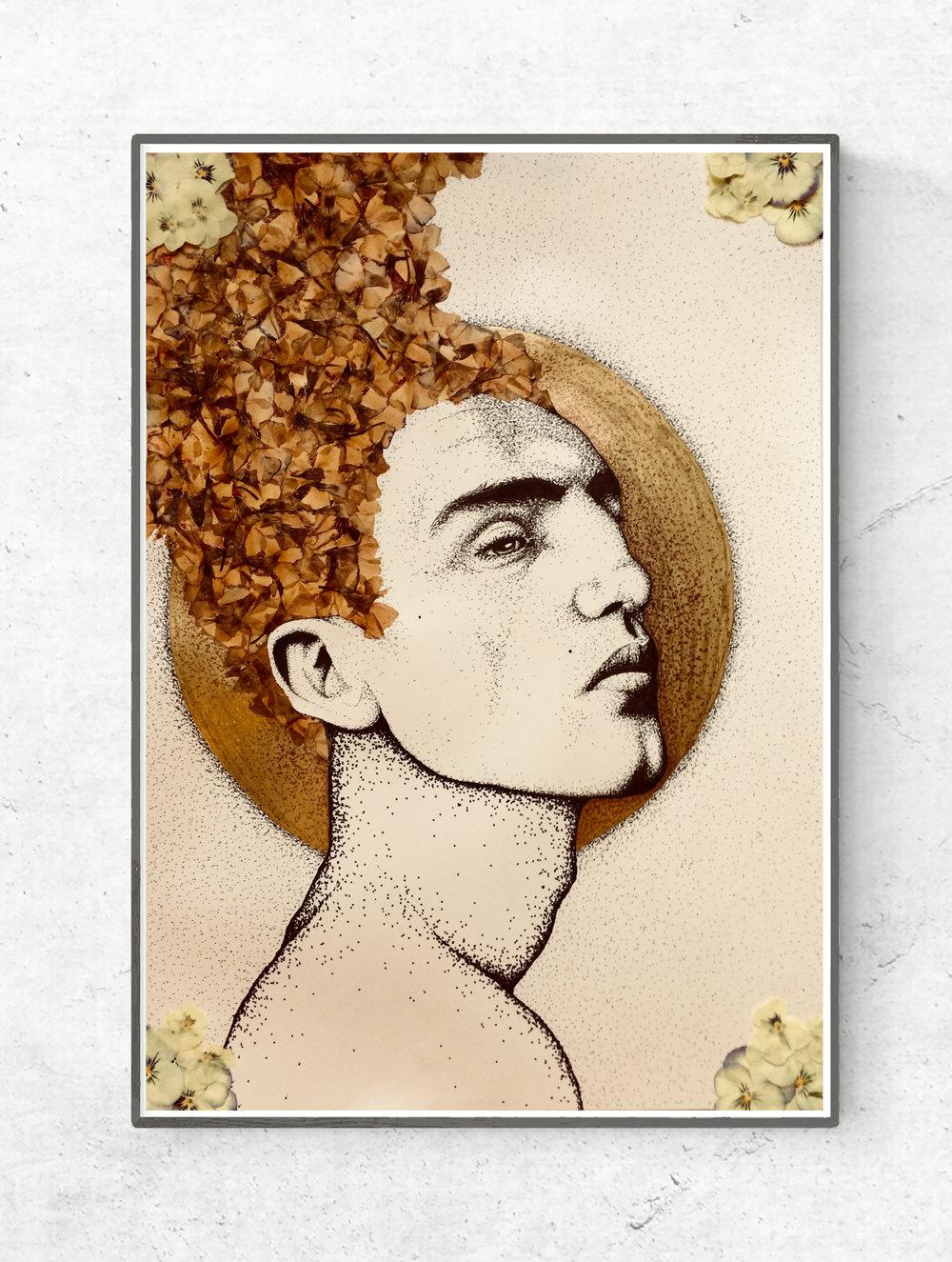 'Midazolam' ink & gold leaf drawing by Billy Byrne