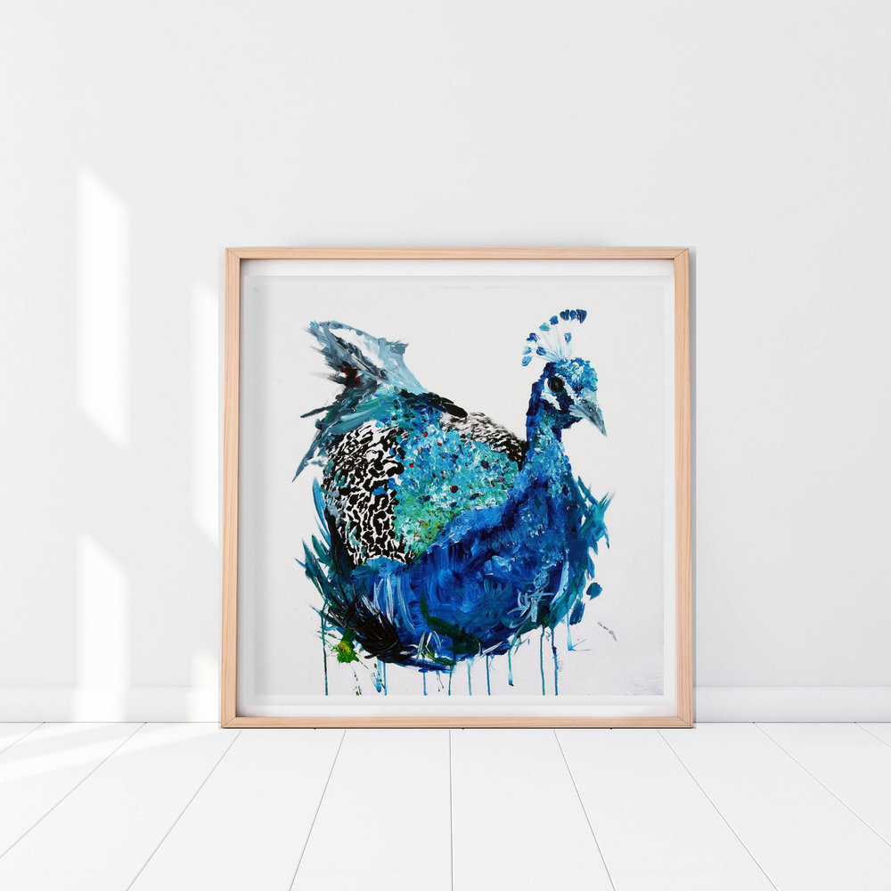 Blue Peacock Abstract Print by Charlotte Farrow
