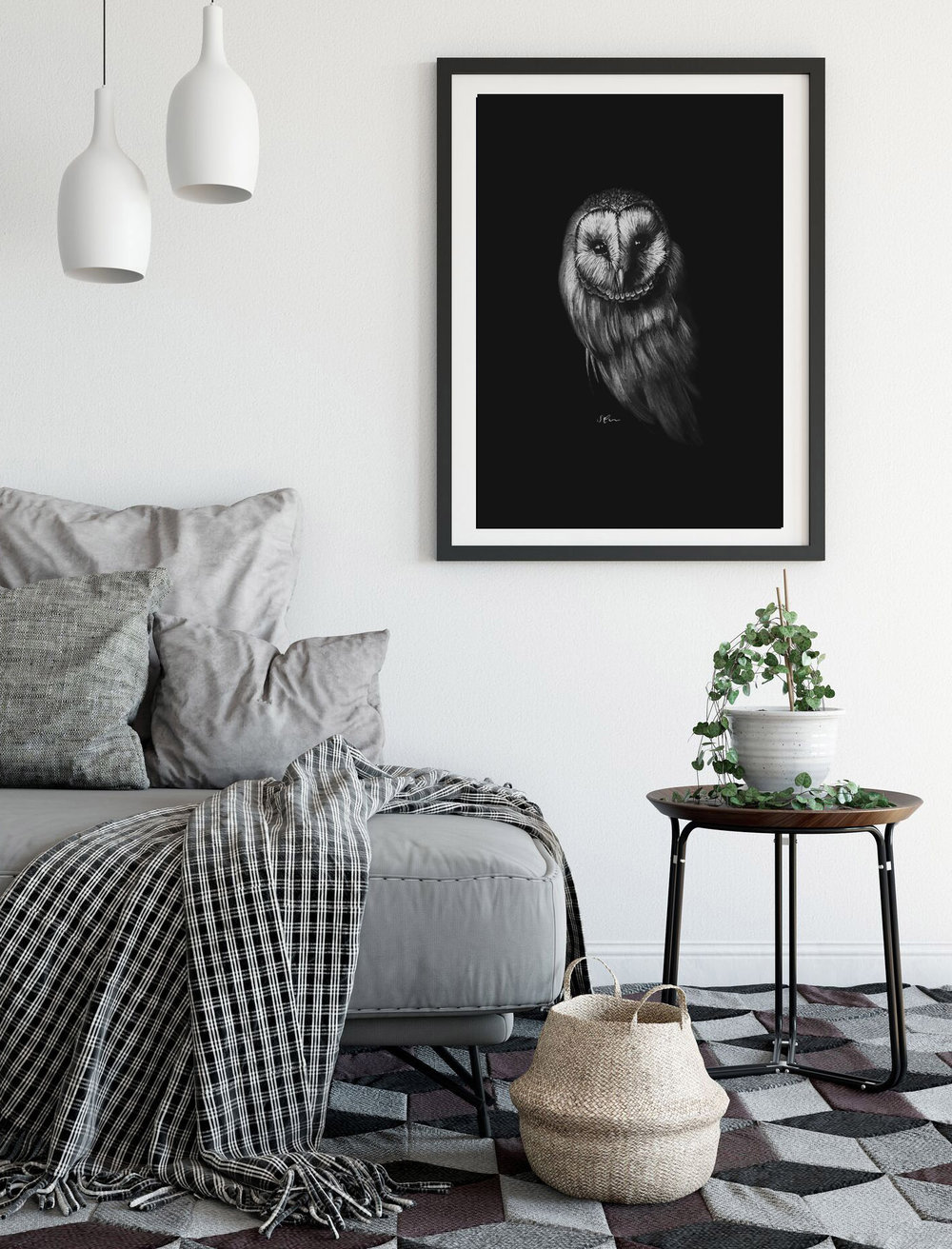 Limited edition owl print by Sophie Green