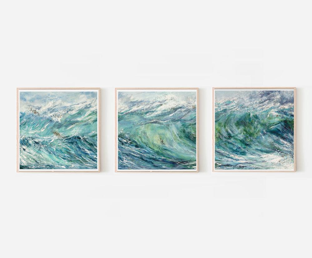 Set of 3 Breaking Wave giclée prints by Charlotte Farrow