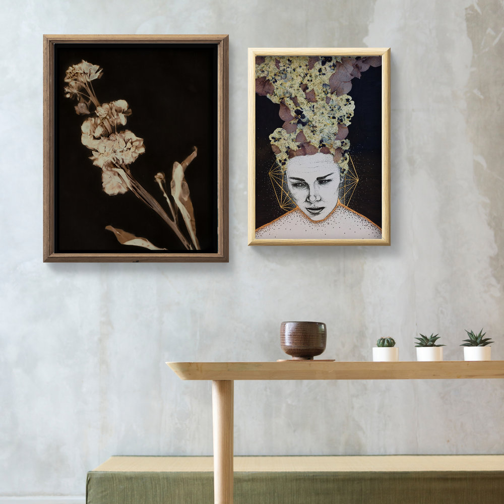 Lumen print by Krista McCurdy  and  'Fluoxetine' gold leaf drawing by Billy Byrne