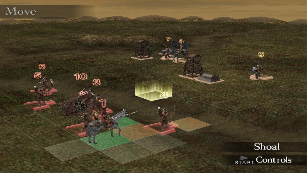 Et screen fra Dynasty Tactics 2, et slag der er i gang.