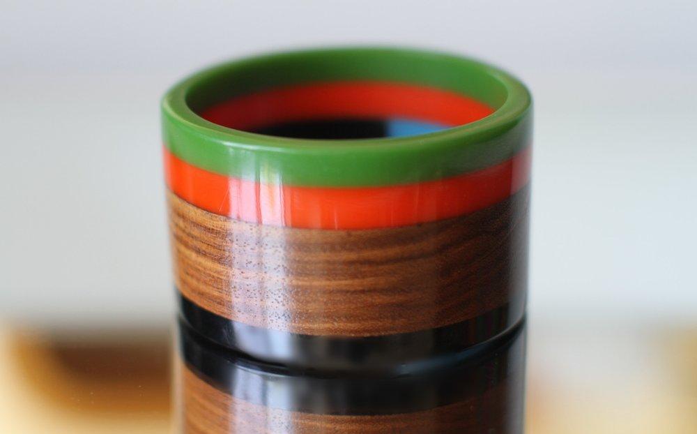 Large Multicolor Resin, Wood And Ebony Color Blocked Bangle Bracelet .jpg