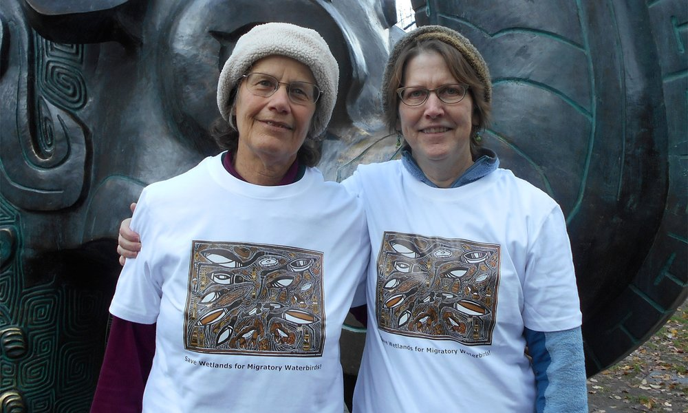 Artist Janet Essley, left, with longtime friend and biologist Lee Tibbitts, right.