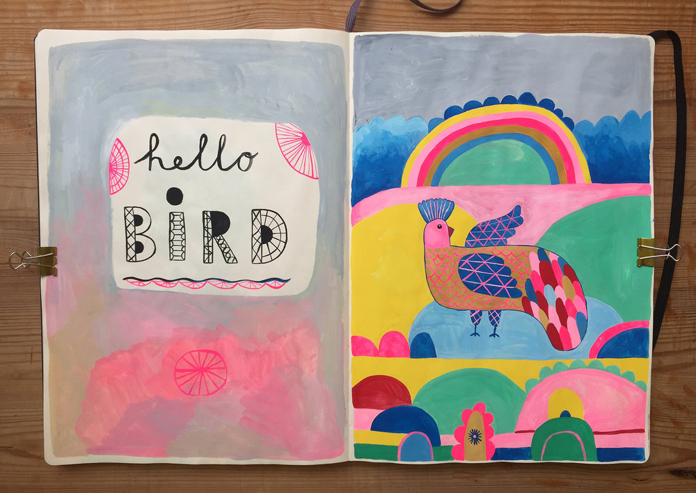 Hello bird by Marenthe illustration painting.jpg