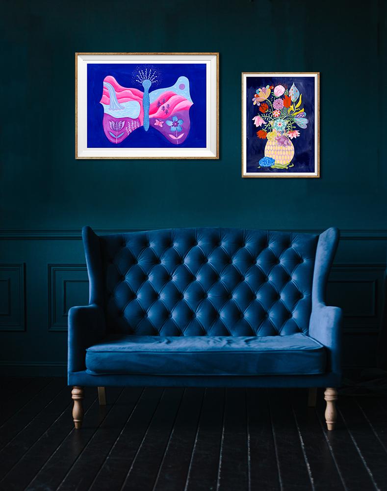 Marenthe's nieuwe prenten COLLECTIe - Marenthe staat bekend om haar kleurrijke illustraties op papier. Zij doet niets liever dan imaginair rondreizen: in de wonderlijke wereld van persoonlijke verhalen of in de wereld daarbuiten, naar ver afgelegen oorden.