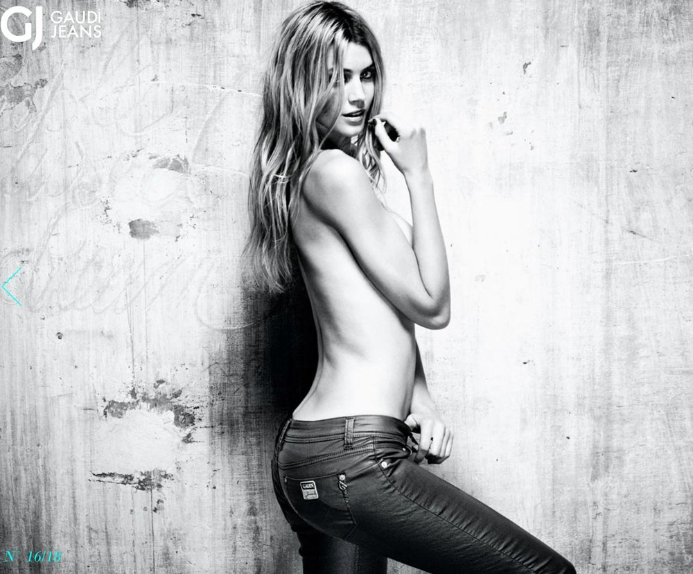 Jayne Moore Gaudi Jeans Campaign sexy jeans italian jeans black and white denim campaign