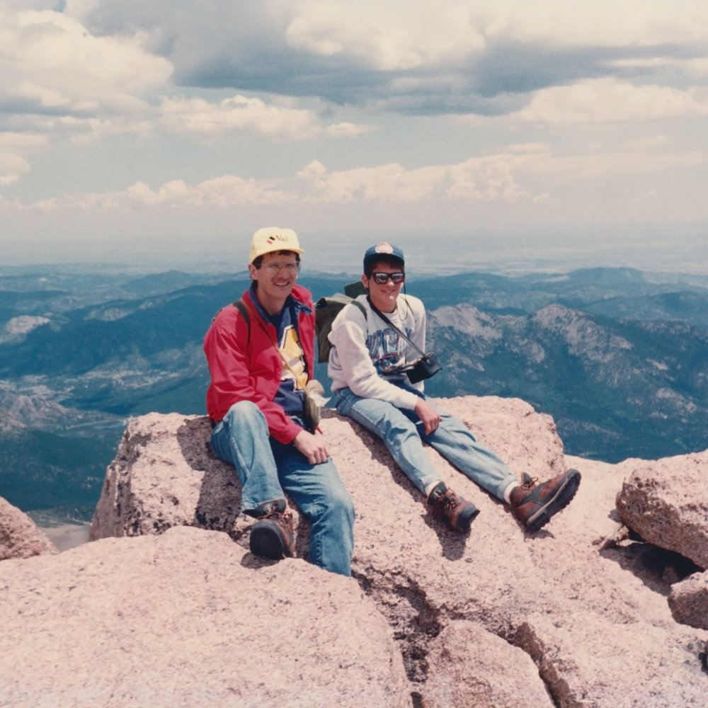 My son, Tim, and I on the summit of Long's Peak.