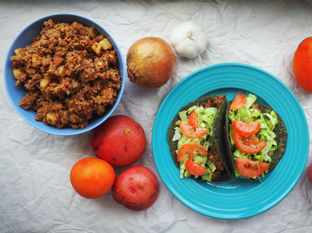 Green tortillas and picadillo
