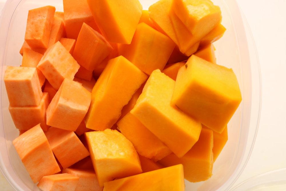 Dice sweet potato in to medium chunks.