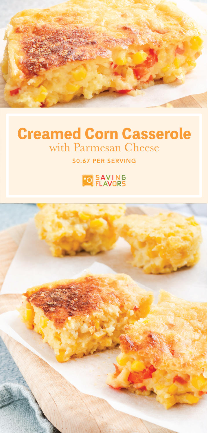 We're mixing this creamed corn casserole recipe up a little by adding sweet bits of red bell pepper to the mix, and I couldn't be happier with the addition. We're keeping all the sweet creamy goodness and adding a crisp layer of parmesan cheese on top.