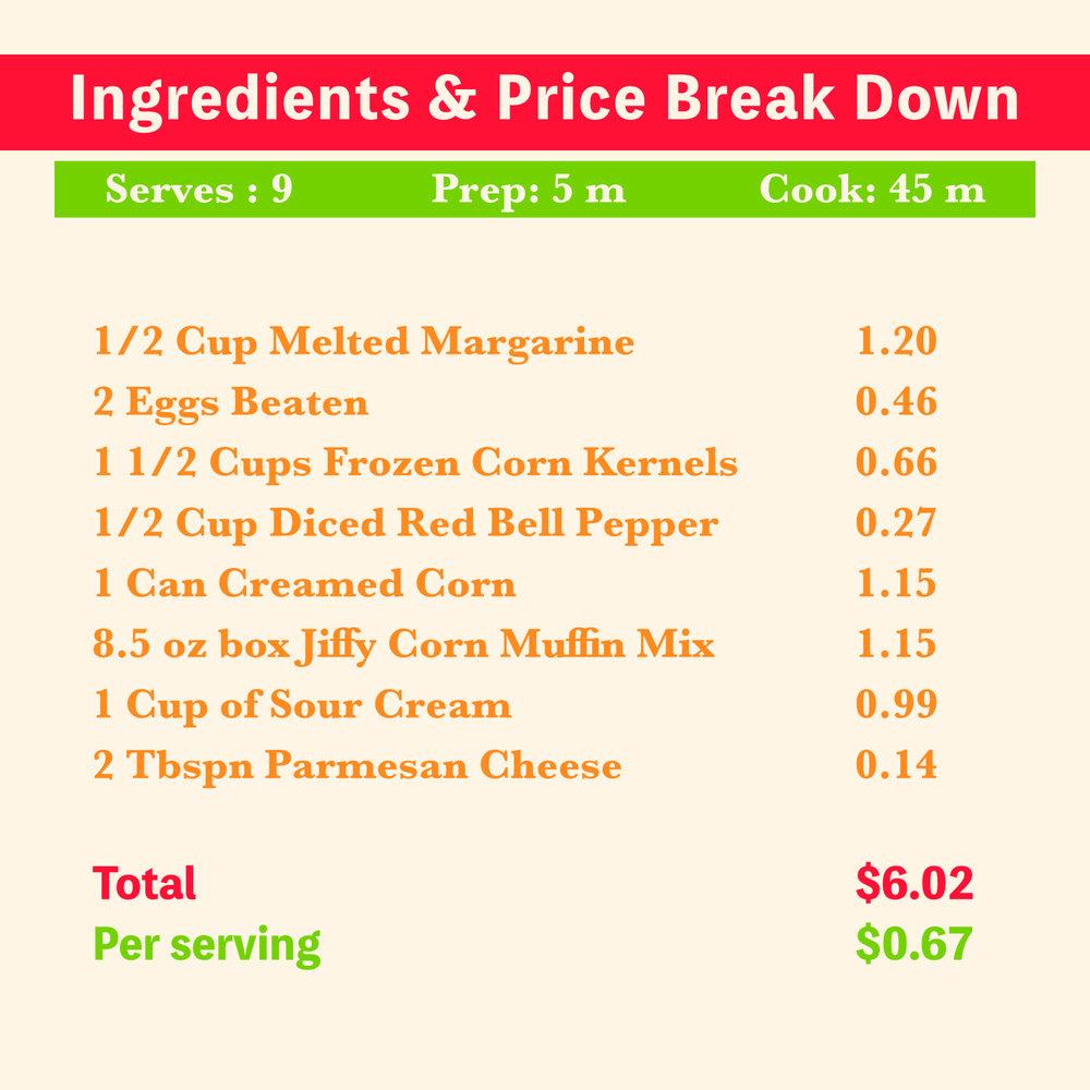 Creamed Corn Casserole Recipe Price