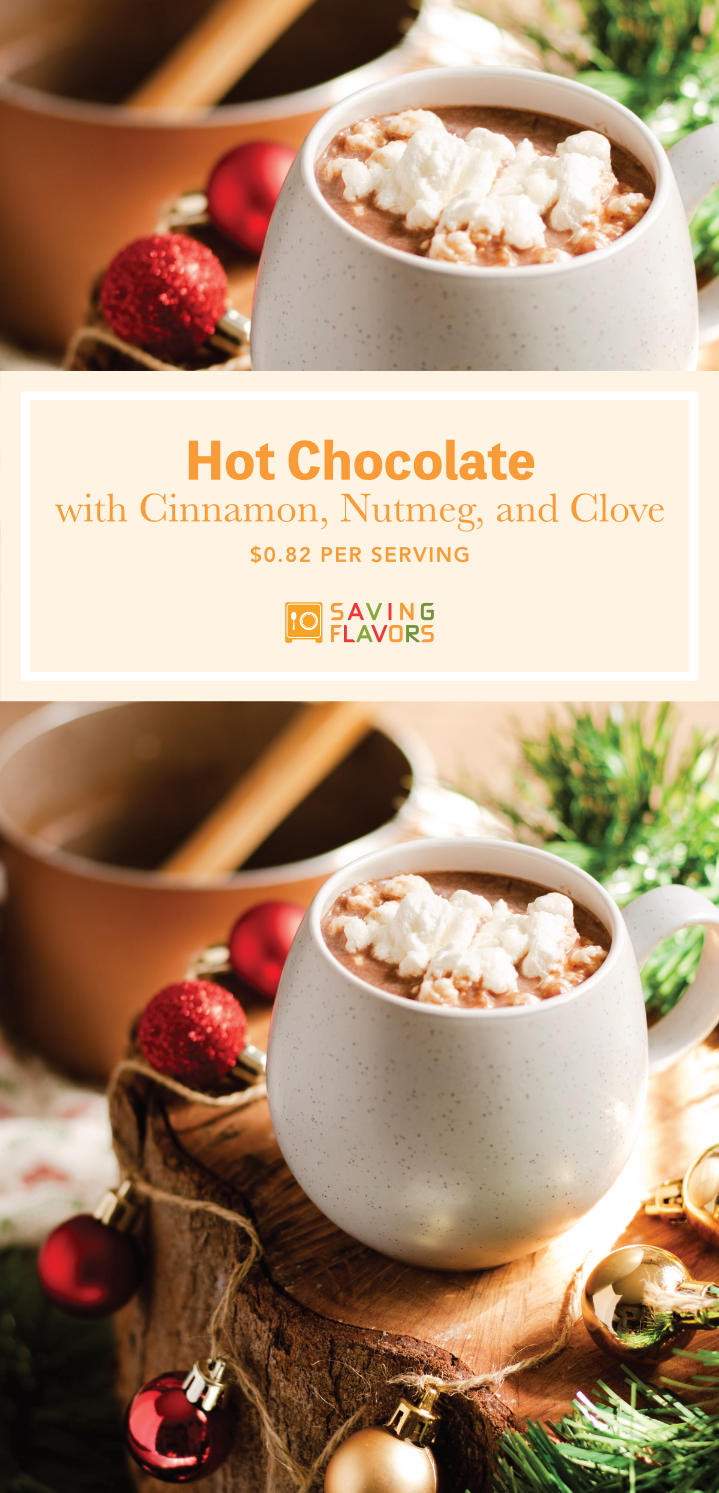 The BEST cup of Hot Chocolate. Laced with the warming spices of cinnamon, nutmeg, and clove. Cuddle up with this luscious cup of cocoa, a toasty blanket, and your favorite book, because it's the perfect drink for cozy snowy/rainy day.