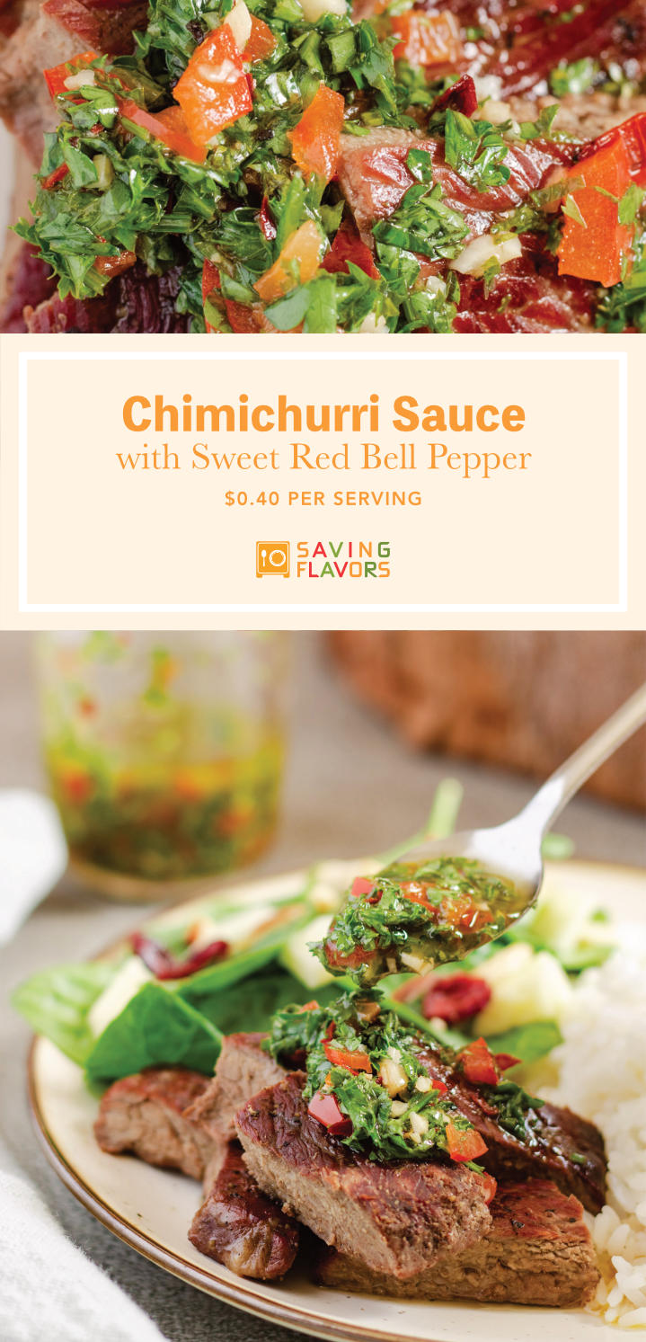 The Best Chimichurri Sauce The oils in this recipe infuse with the lovely aroma of garlic, heat of red pepper flakes, sweetness of red bell peppers, earthy notes of parsley, and the vibrant refreshing  acidity of vinegar and lemon juice. Don't miss your chance to make this simply delicious sauce your next trip to the grill.