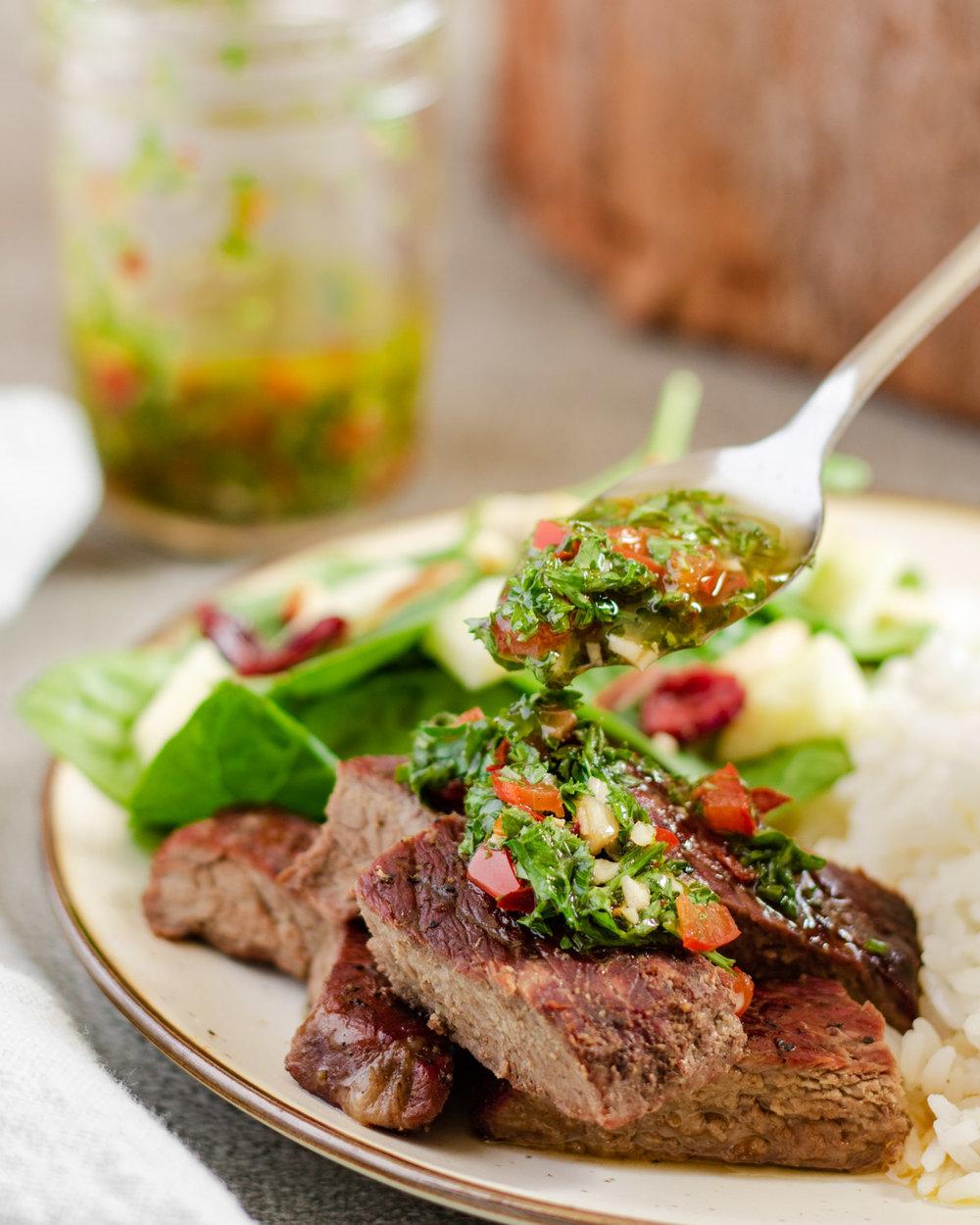 Chimmichurri Sauce on Steak