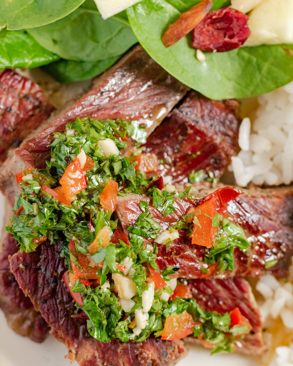 Chimichurri Sauce on Steak
