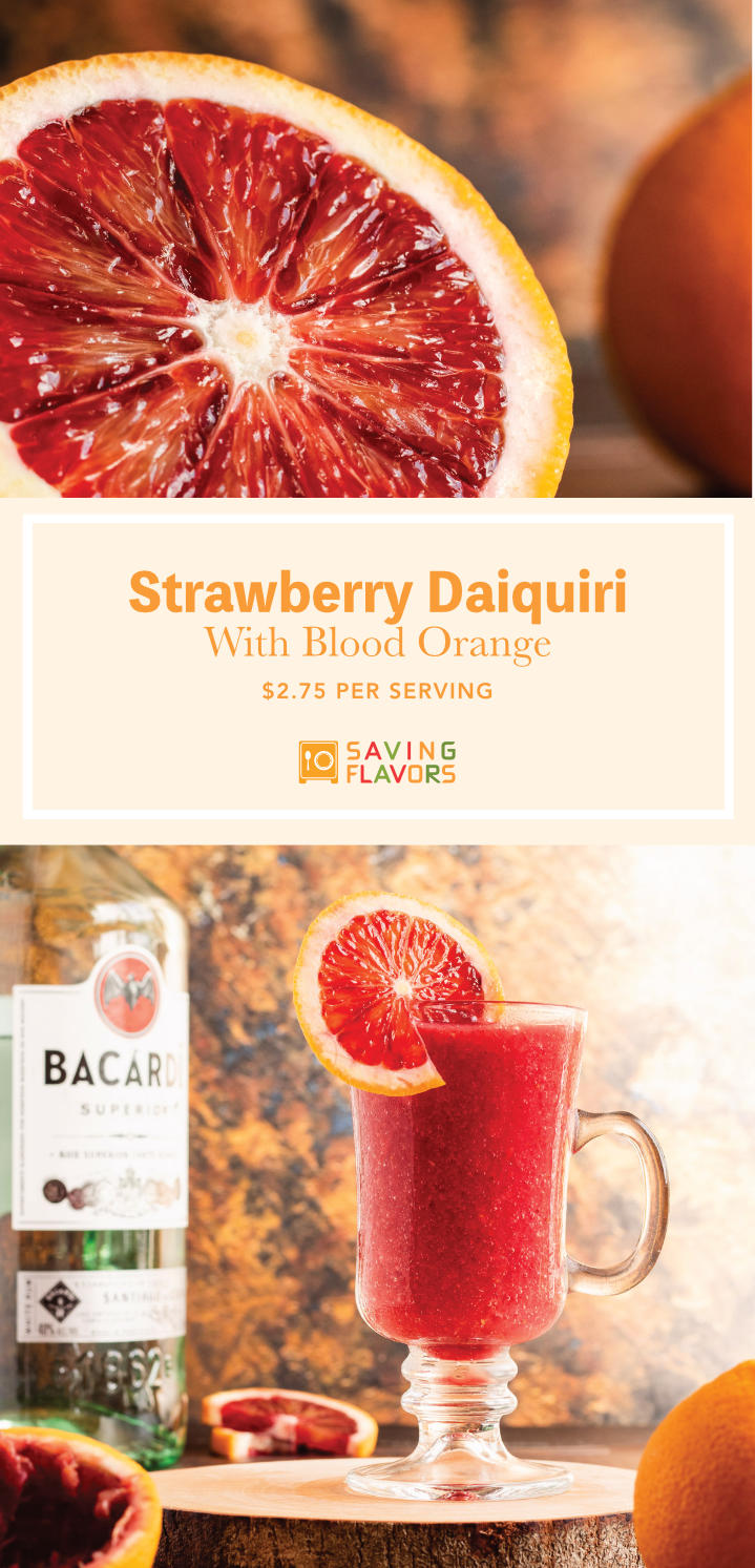 This light and refreshing frozen strawberry daiquiri has no added sugar and packs a punch of flavor and rum. The sweet and sour blood orange mingles with the tart and fruity strawberries, creating a delightful drink perfect for a day by the beach. Make this cocktail recipe now for a delicious punch of strawberry, citrus, and rum.