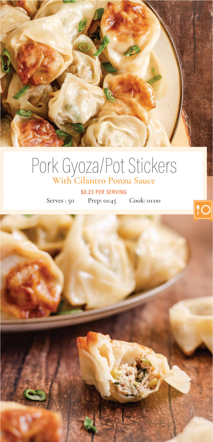 Crush your Chinese food cravings and make these delicious ground pork gyoza/potstickers. Stuffed with light and refreshing flavors like cilantro, green onions and ginger. The dough is crisped to perfection and the filling is steamed to create a delicious bite.