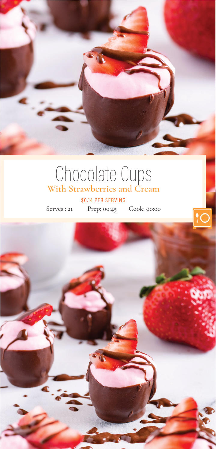 Bittersweet chocolate shells are filled with the sweet and fruity flavors of strawberry whipped cream. Fall in love again with these tasty valentine's treats. Get the recipe now.