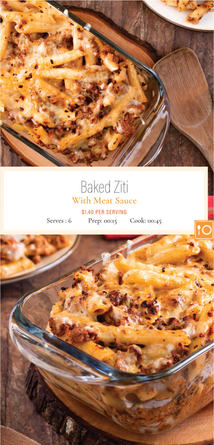 Baked ziti is an easy week night dinner that easily replaces your lasagna craving. Penne noodles combined with a fragrant tomato based meat sauce is topped with a heaping pile of shredded mozzarella cheese and baked until oozing. Get the recipe for this delicious baked penne pasta.