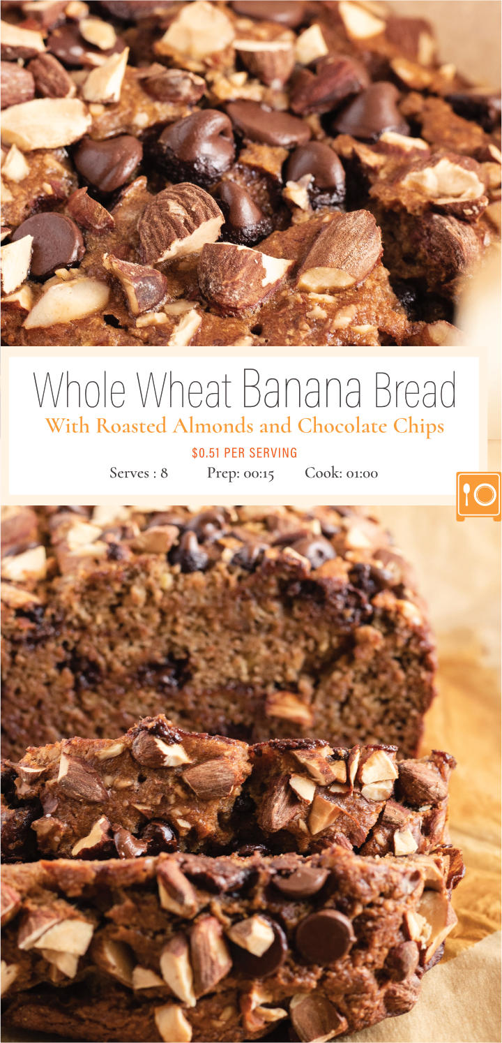 Make this easy to prepare banana bread recipe. It is so tender and delicious, you would hardly believe it's made with applesauce and whole wheat flour. Incorporated with semi-sweet chocolate chips and topped with crunchy chopped almonds, this recipe is a delightful treat.