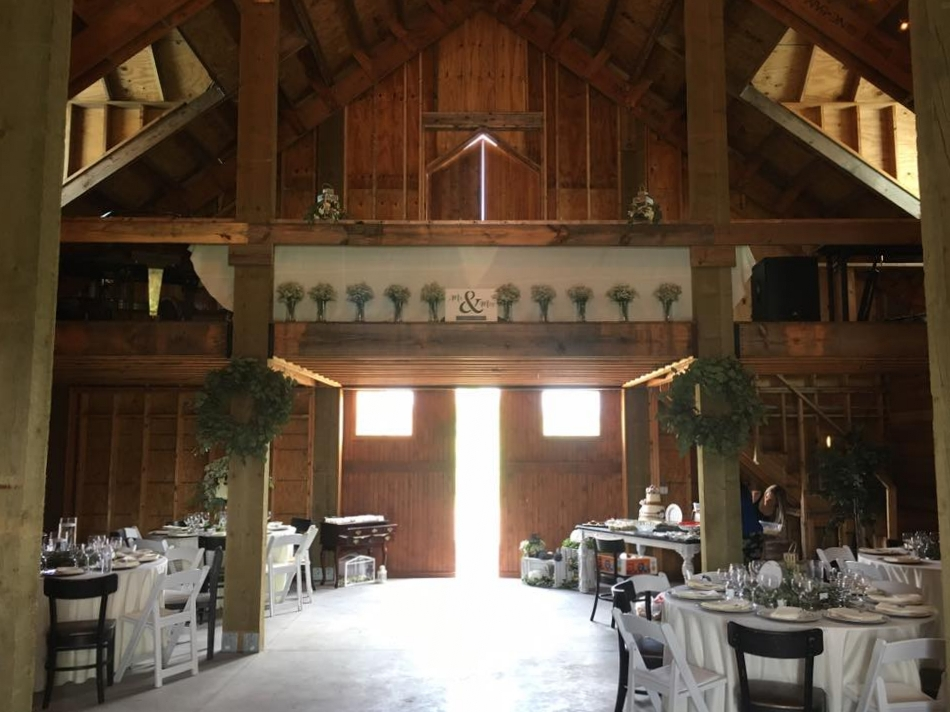Interior of the Barn Stall Winery & Wedding Barn while being set up for a wedding reception in Merritt Island, Florida.