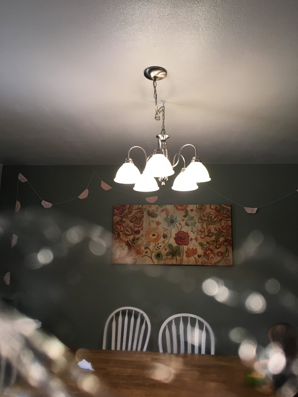 In this picture of our dining room chandelier I placed some saran wrap in front of the camera to add some light effect at the bottom.