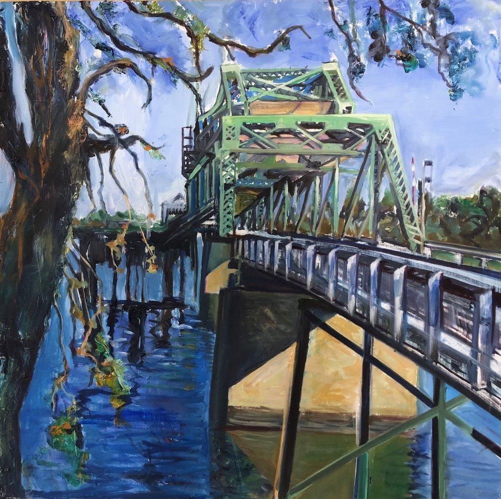 Bridge over Cosumnes River   Oil  24 x24