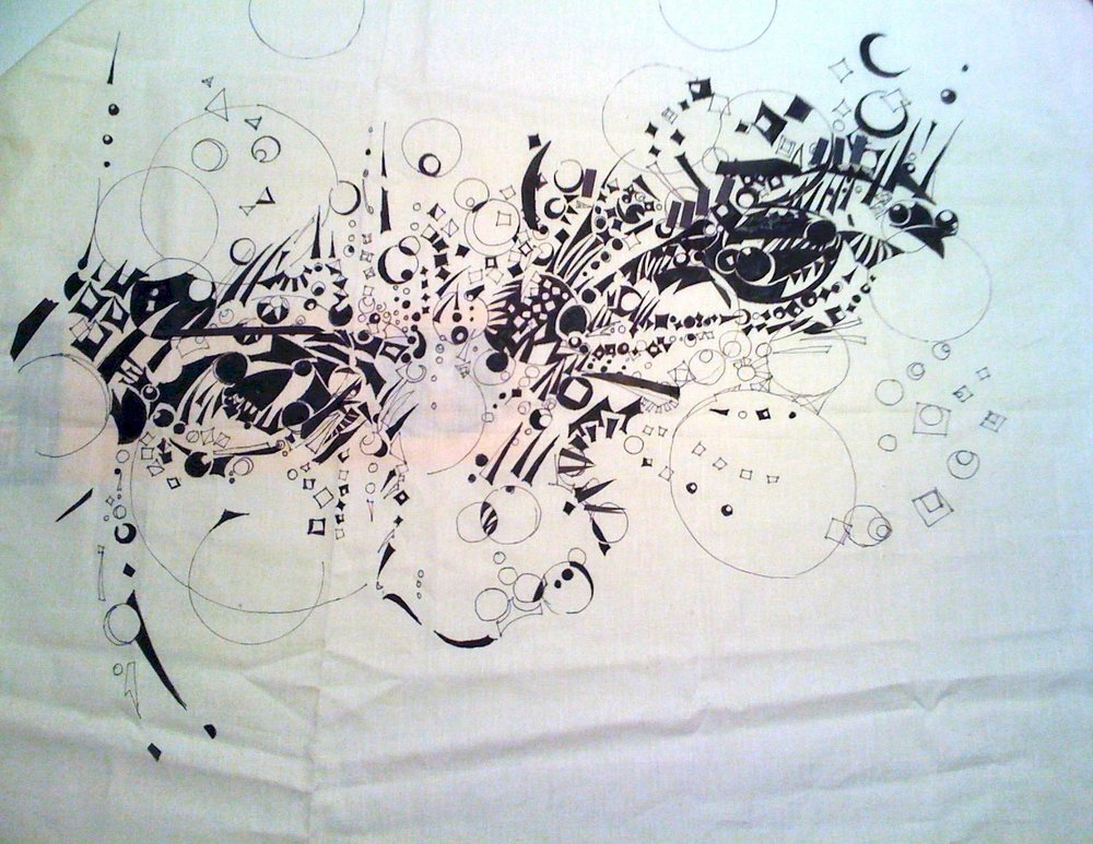 Do You See What I See?- sketch  36 x 26  muslin, ink  2007