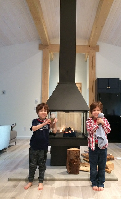 My twins light up seeing the fire stove in use for the first time