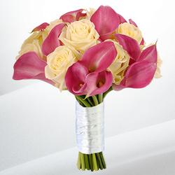 Mini Calla & Rose Supreme Wedding Bouquet $120