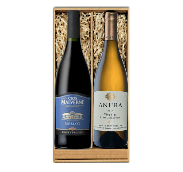 Weinpräsent 'Merlot und Viognier'    Dieses Präsent ist bereits gepackt mit einem Merlot von Clos Malverne und einem Viognier von Anura (je 0.75L Flaschen). Weitere Informationen finden Sie im Shop.