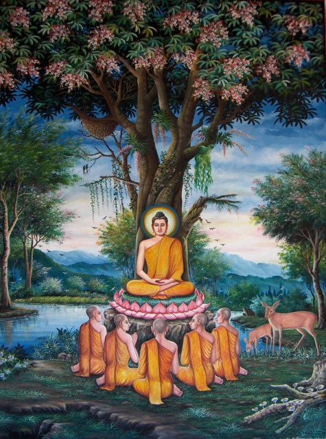 Photo of painting of  Gautama Buddha 's first sermon at the Deer Park. The picture is taken at  Wat Chedi Liem .