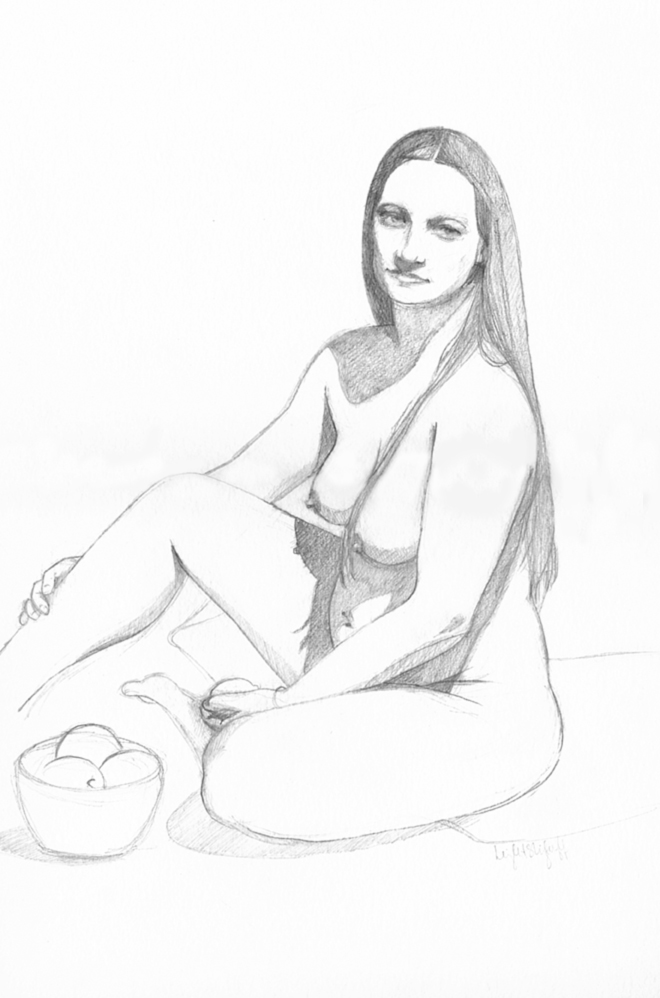 Nude with Fruit, Leigh Slingluff, Graphite